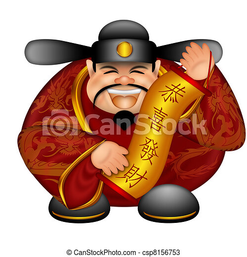 Chinese Money God With Banner Wishing Happiness and Wealth - csp8156753