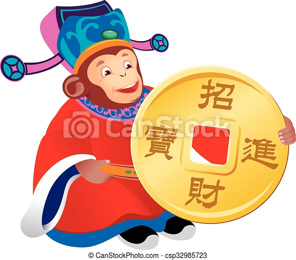 Chinese monkey god of prosperity - csp32985723
