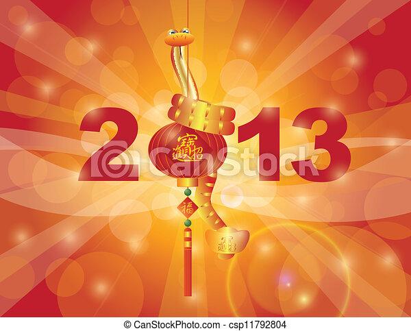 Chinese New Year 2013 Snake on Lantern - csp11792804