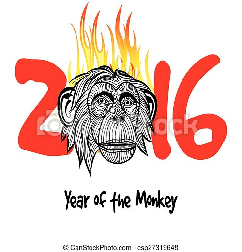 chinese new year 2016 monkey year vector - Chinese New Year 1964