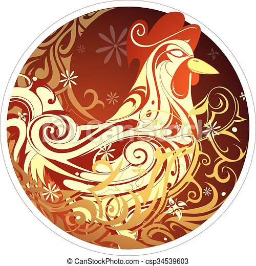 chinese new year 2017 rooster horoscope symbol vector - 2017 Chinese New Year