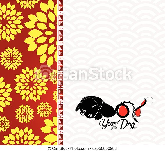 chinese new year 2018 plum blossom and dog background csp50850983