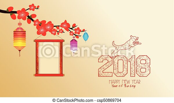 chinese new year 2018 with blossom wallpapers year of the dog csp50869704