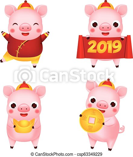 Chinese new year  2019 happy cartoon pig collection  illustration for  calendars and cards  Pigs with yuanbao, coin and other traditional symbols