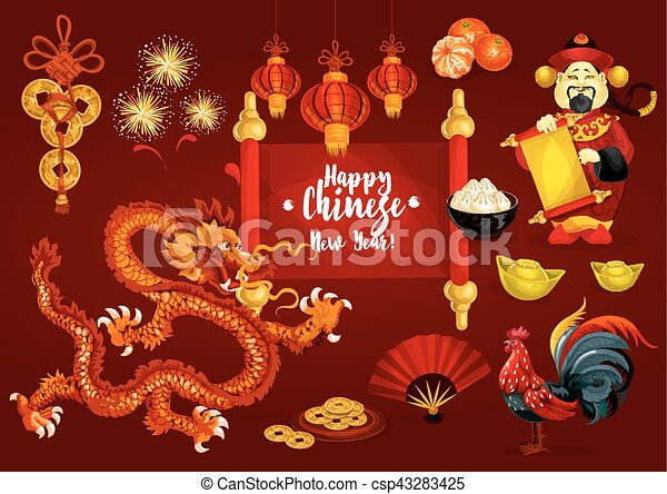 chinese new year and spring festival greeting card csp43283425