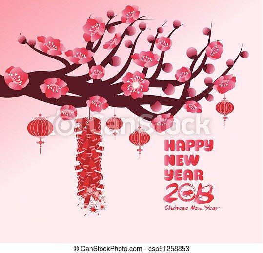 chinese new year background blooming sakura branches csp51258853