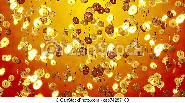 Chinese new year background, Golden coins 3 d texture. 3D rendering - csp74287160