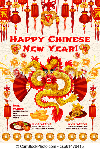 chinese new year banner of spring festival dragon csp61478415