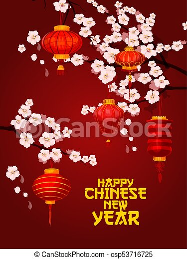 chinese new year card of lantern with plum blossom csp53716725