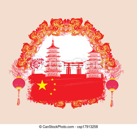chinese new year card traditional lanterns and asian buildings vector - Chinese New Year Card