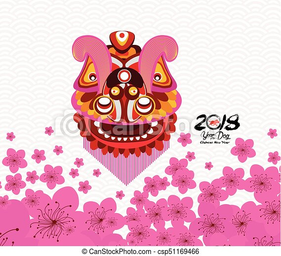 Chinese new year card with plum blossom and lion dance in