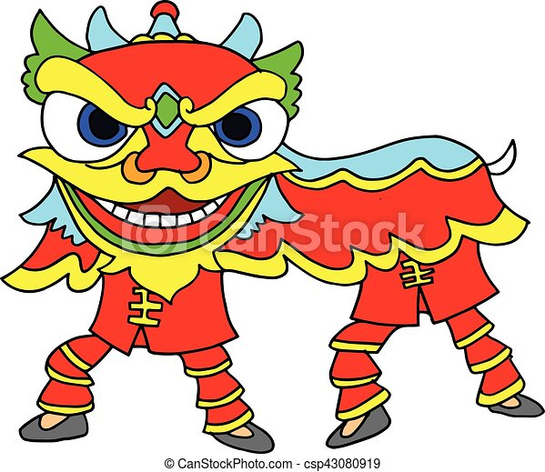 chinese new year celebration lion dance illustration rh canstockphoto co nz  chinese new year dragon clipart black and white