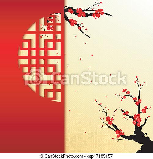 Chinese New Year Cherry Blossom Background - csp17185157