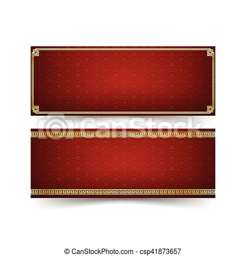 chinese new year decoration banner set modern art chinese style boarder and chinese art element