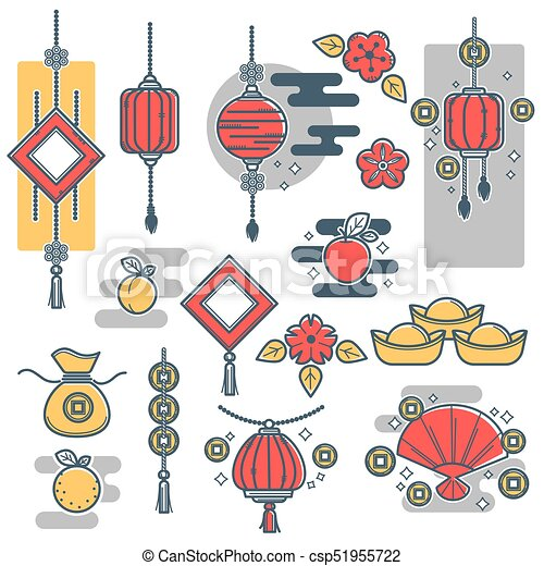 Chinese New Year Decorations Icons Vector Lantern Gold Coins