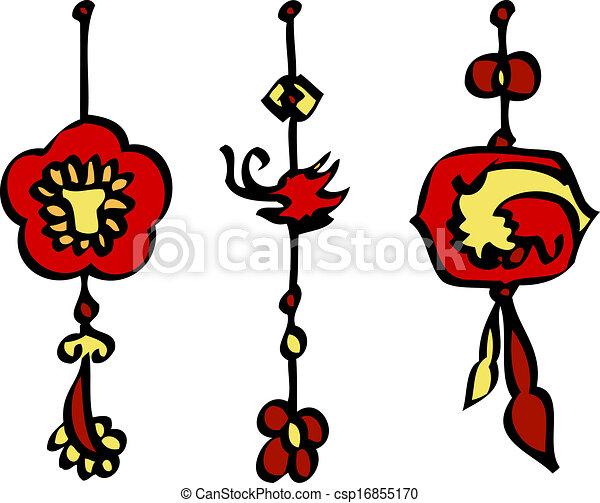Chinese new year decorations vector. Isolated hand drawn ...