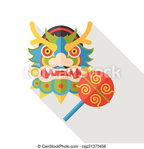 chinese new year dragon and lion dancing head flat icon csp31373456