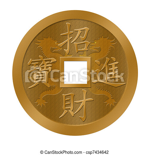 chinese new year dragon gold coin csp7434642