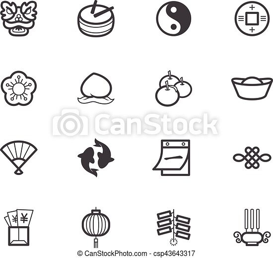 chinese new year element black icon set on white background csp43643317