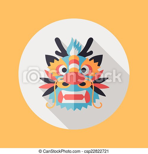 chinese new year flat icon with long shadoweps10the dragon and csp22822721