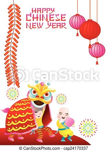 Chinese New Year Frame Lion Dance Chinese New Year Set