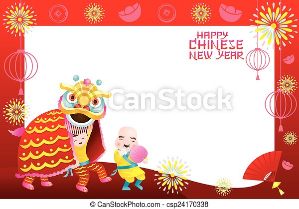 Chinese new year frame, lion dance. Chinese new year set.