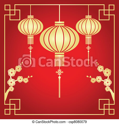 Chinese New Year greeting card - csp8080079