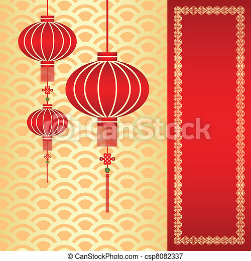 Chinese new year greeting card red chinese lantern on seamless chinese new year greeting card csp8082337 m4hsunfo