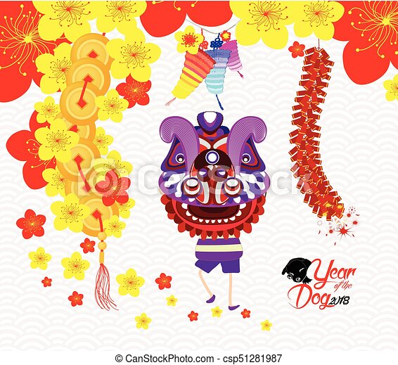 chinese new year greeting card lion dance vector - Chinese New Year 1987