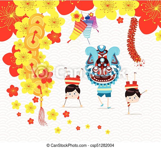 Chinese new year greeting card. lion dance.