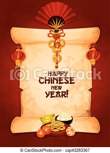 Chinese new year greeting card on paper scroll happy chinese new chinese new year greeting card on paper scroll csp43283367 m4hsunfo