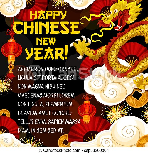 Chinese new year greeting card with golden dragon chinese new year chinese new year greeting card with golden dragon csp53260864 m4hsunfo