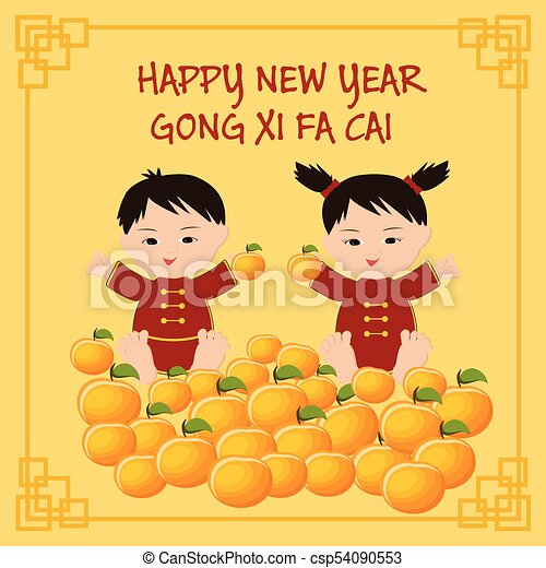 chinese new year greeting card with chinese kids text happy new year cong xi fa
