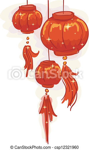 chinese new year lantern background csp12321960