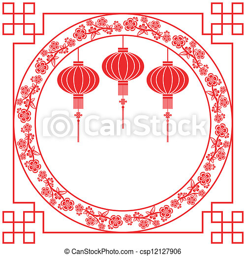 chinese new year red lantern background csp12127906