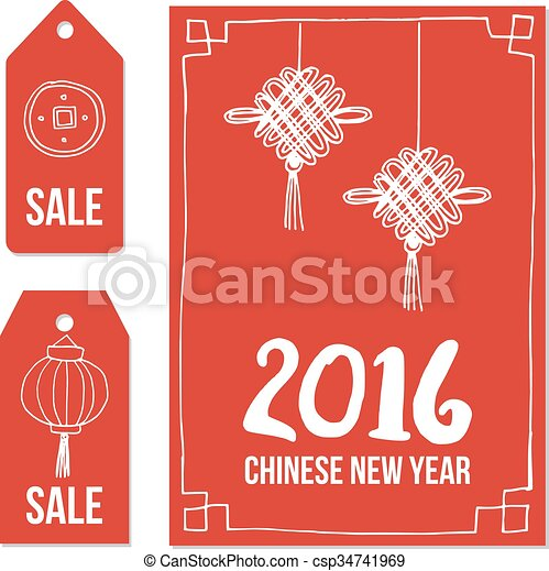 chinese new year set of hand drawn sale price tags and greeting card vectors - Chinese New Year 1969
