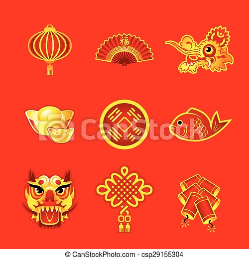 chinese new year symbols vector - Chinese New Year Symbols