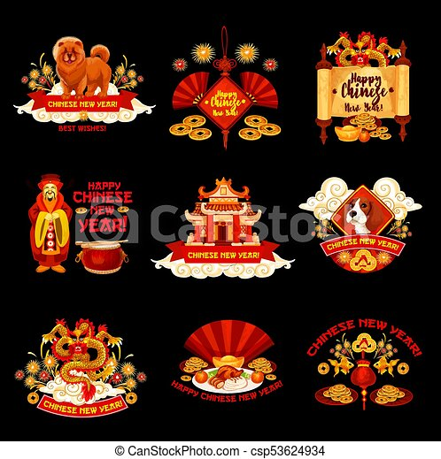 Chinese new year vector decorations icons. Happy chinese new year ...