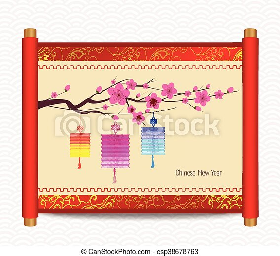 chinese new year with blossom csp38678763
