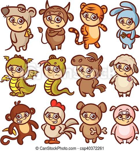 chinese new year zodiac animal horoscope kids csp40372261 - Chinese New Year Animal