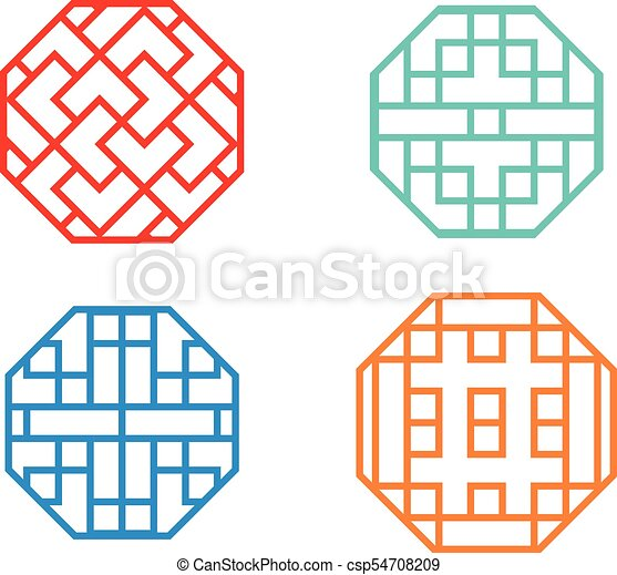 chinese octagon window frame and symbol in vector design vector rh canstockphoto ca free window frame clipart