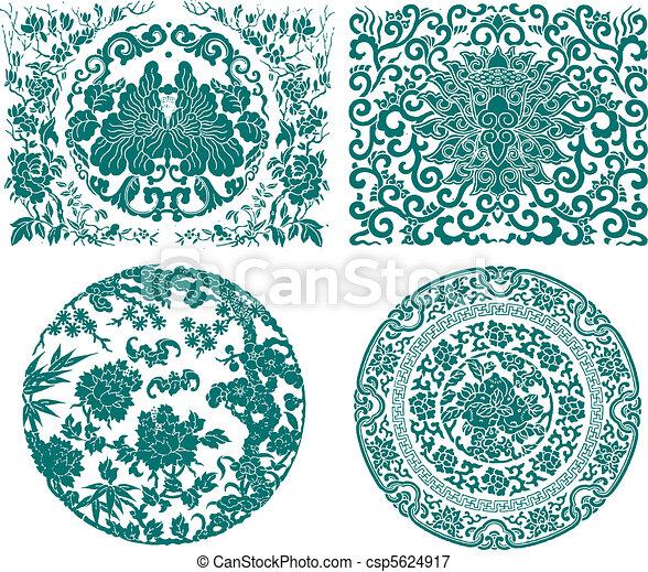 chinese oriental flower  - csp5624917