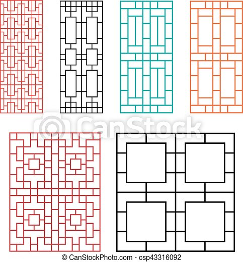 Chinese Fence Design Chinese ornament for door window wall and fence vector eps chinese ornament for door window wall and fence csp43316092 workwithnaturefo