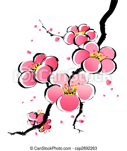 chinese painting of sakura - csp2892263