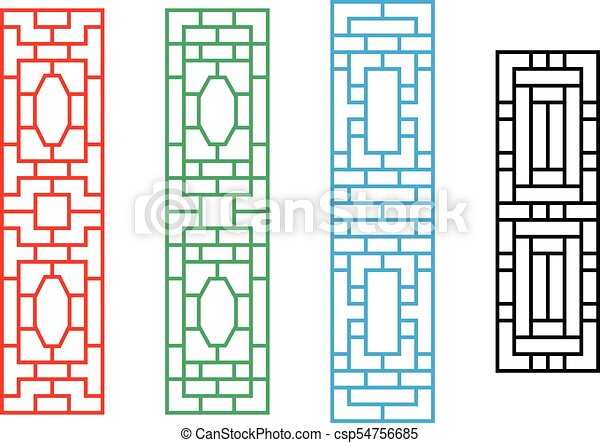 Chinese rectangle window frame in vector design. Chinese rectangle ...