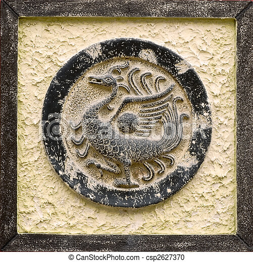 Chinese religious stone carving of peafowl  - csp2627370