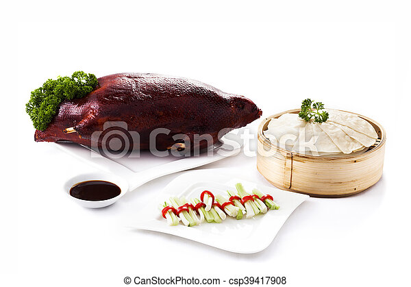 Chinese roasted duck set on white background - csp39417908