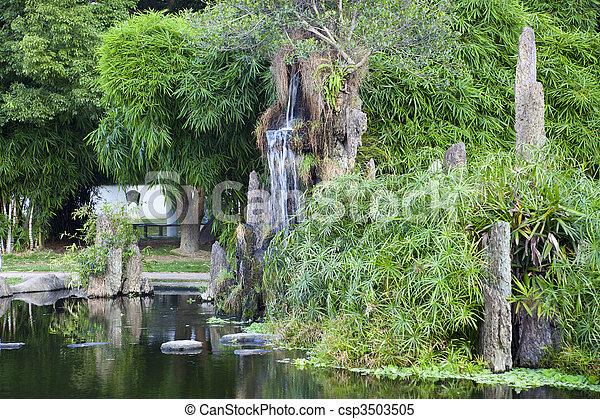 Chinese rockery in garden - csp3503505