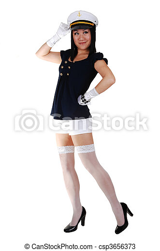 chinese sailor girl a pretty young asian woman in a sailor uniform in white shorts stockings and gloves in high heels can stock photo