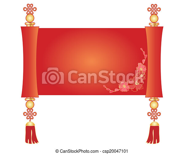 an illustration of a decorative chinese scroll parchment in red and